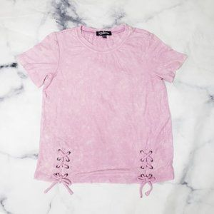 NWOT Nordstrom tight fitting tie up front crop top